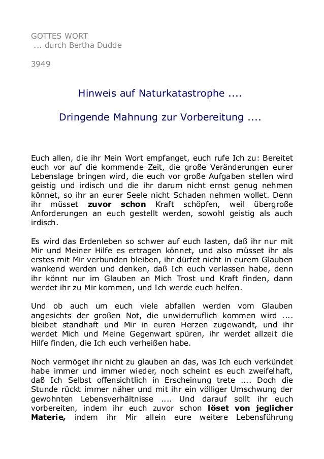 GOTTES WORT ... durch Bertha Dudde 3949 Hinweis auf Naturkatastrophe .... Dringende Mahnung zur Vorbereitung .... Euch all...