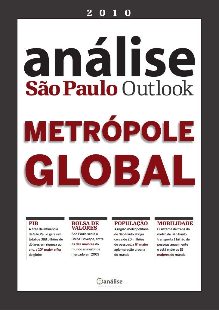 2 0 1 0     São Paulo Outlook  METRÓPOLE GLOBAL PIB                       BOLSA DE                      POPULAÇÃO         ...