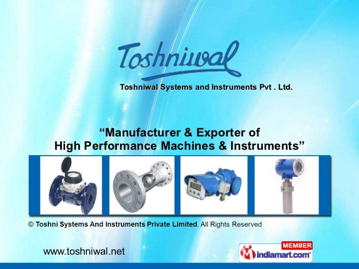 """Toshniwal Systems and Instruments Pvt . Ltd. """" Manufacturer & Exporter of High Performance Machines & Instruments"""""""
