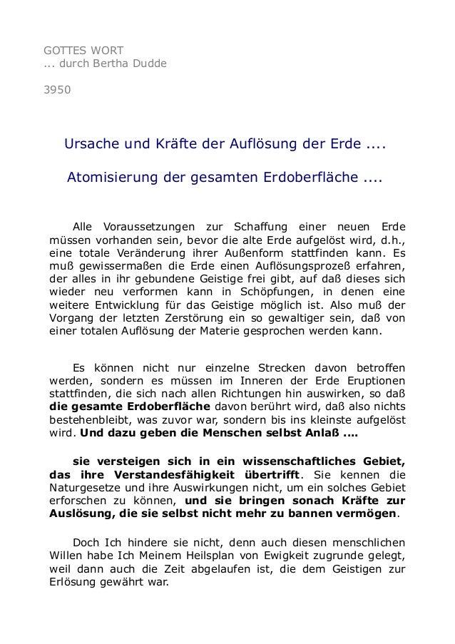 GOTTES WORT ... durch Bertha Dudde 3950 Ursache und Kräfte der Auflösung der Erde .... Atomisierung der gesamten Erdoberfl...
