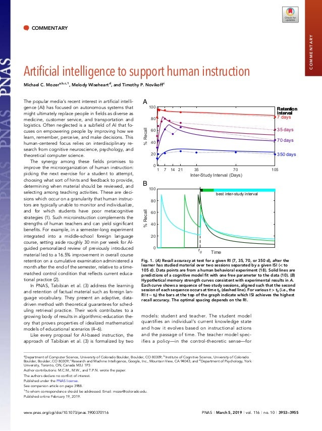 COMMENTARY Artificial intelligence to support human instruction Michael C. Mozera,b,c,1 , Melody Wiseheartd , and Timothy ...