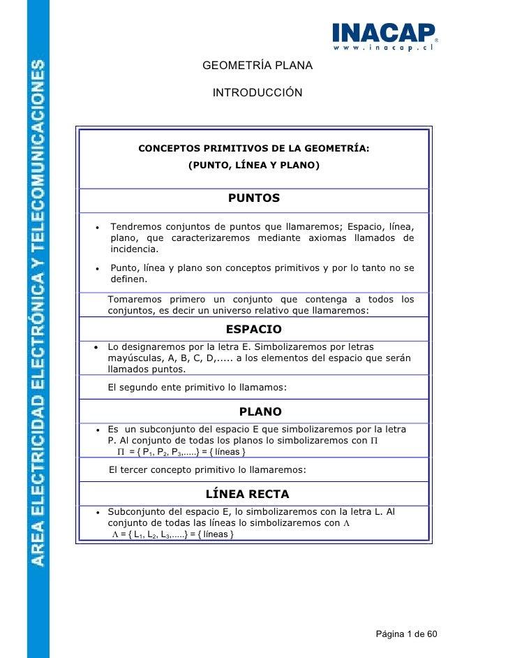 GEOMETRÍA PLANA                          INTRODUCCIÓN          CONCEPTOS PRIMITIVOS DE LA GEOMETRÍA:                     (...