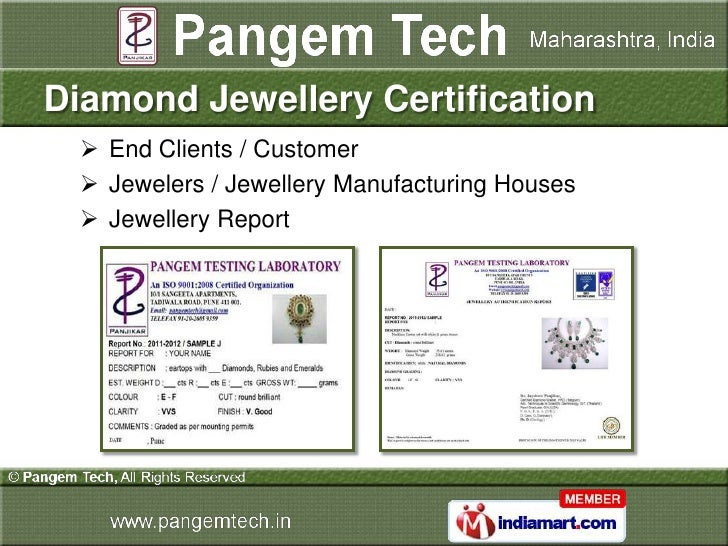 Diamond Jewellery Certification   End Clients / Customer   Jewelers / Jewellery Manufacturing Houses   Jewellery Report