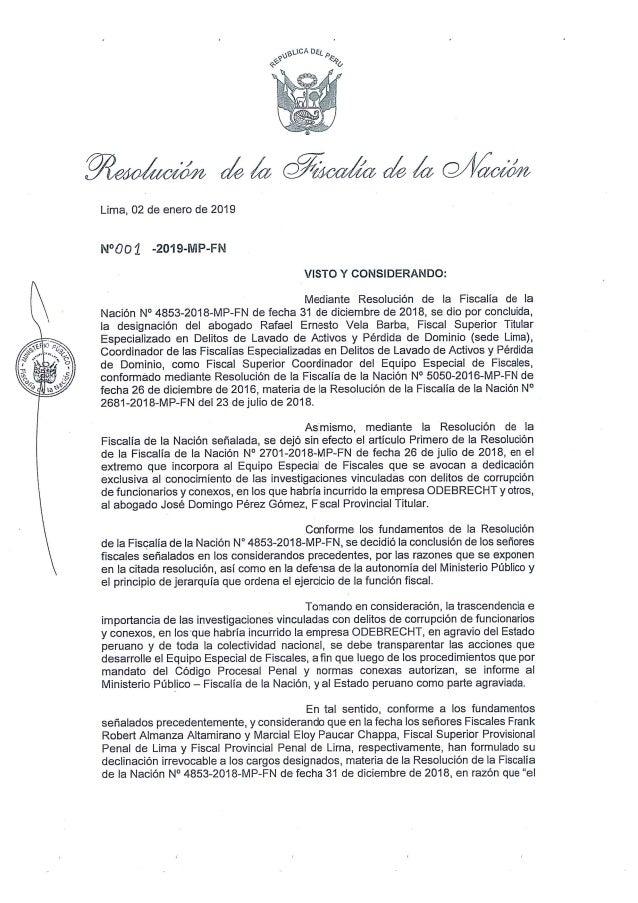 Pedro Chávarry retrocede y repone a fiscales en Lava Jato