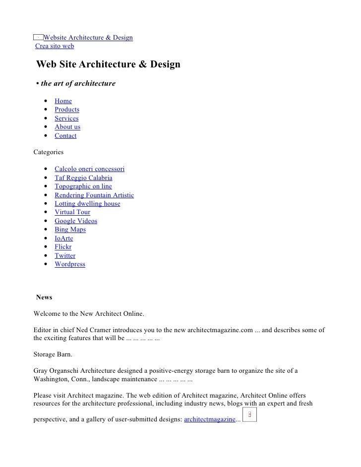Website Architecture & Design Crea sito web  Web Site Architecture & Design • the art of architecture     •   Home    •   ...