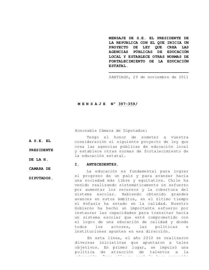 MENSAJE DE S.E. EL PRESIDENTE DE                              LA REPUBLICA CON EL QUE INICIA UN                           ...