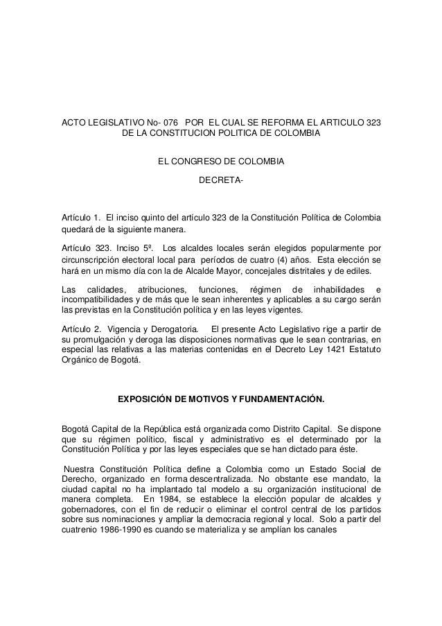 ACTO LEGISLATIVO No- 076 POR EL CUAL SE REFORMA EL ARTICULO 323  DE LA CONSTITUCION POLITICA DE COLOMBIA  EL CONGRESO DE C...