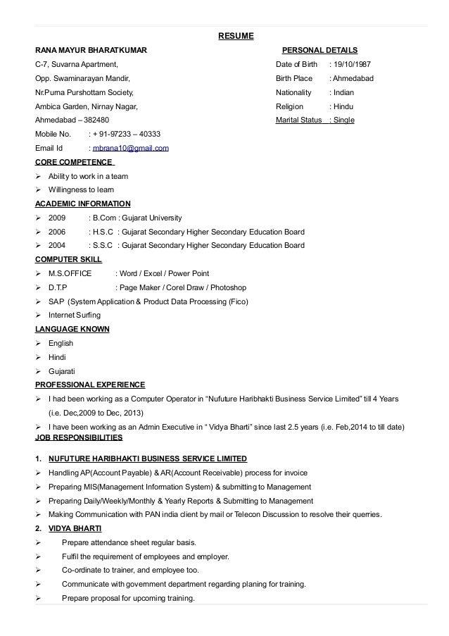 RESUME RANA MAYUR BHARATKUMAR PERSONAL DETAILS C-7, Suvarna Apartment, Date of Birth : 19/10/1987 Opp. Swaminarayan Mandir...