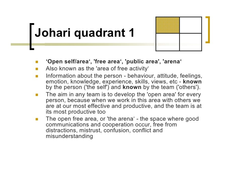 Johari window for Window quadrant