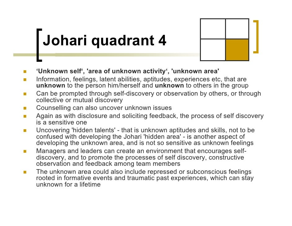 self analysis through swot johari window essay Free essay: leadership skills and johari window analysis keuka  in order to  achieve this, leaders need to have self-confident and trust themselves first   server 2008, the following information is provided: a swot analysis.