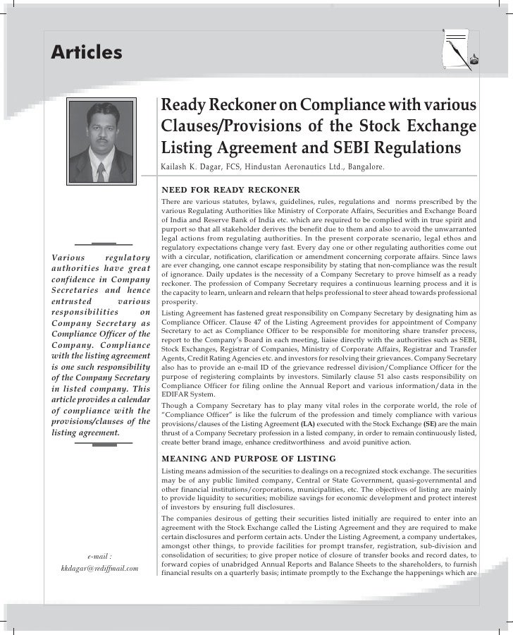 Articles                                Ready Reckoner on Compliance with various                               Clauses/Pr...