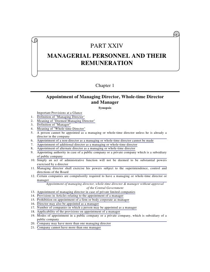 PART XXIV              MANAGERIAL PERSONNEL AND THEIR                     REMUNERATION                                    ...
