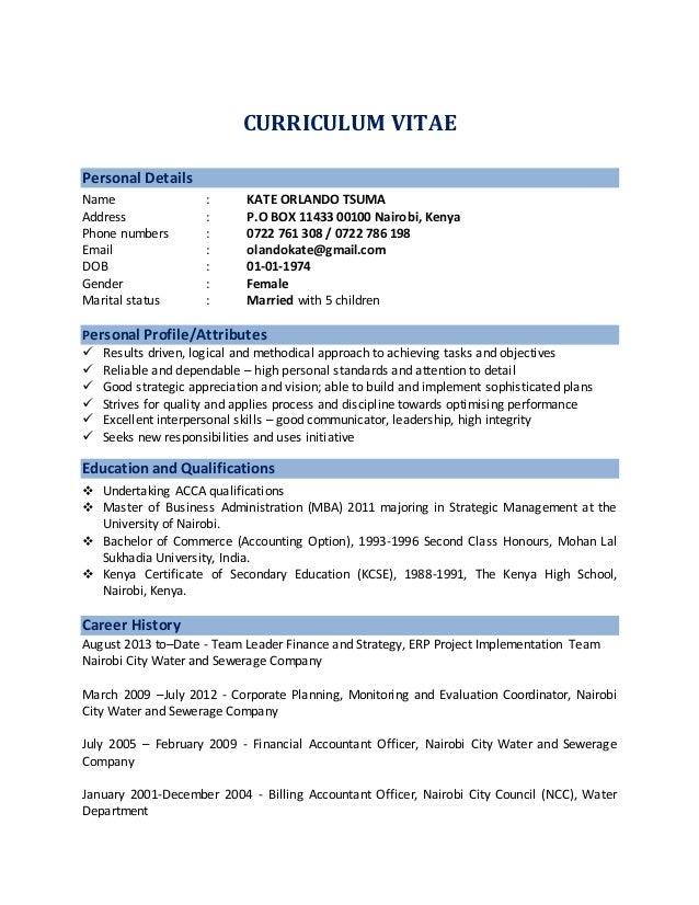 curriculum vitae personal details name kate orlando tsuma address po box 11433 00100 nairobi