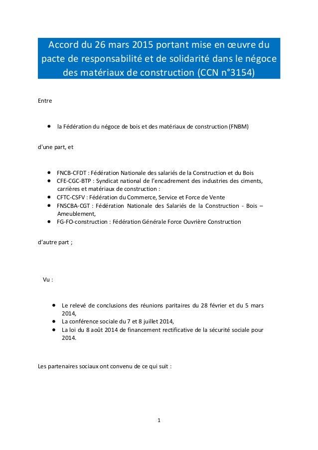 Accord du 26 mars 2015 portant mise en œuvre du pacte de responsabilité et de solidarité dans le négoce des matériaux de c...