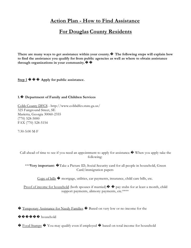 Action Plan - How to Find Assistance                            For Douglas County Residents   There are many ways to get ...