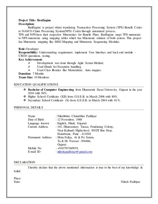 resume nilesh padhiyar