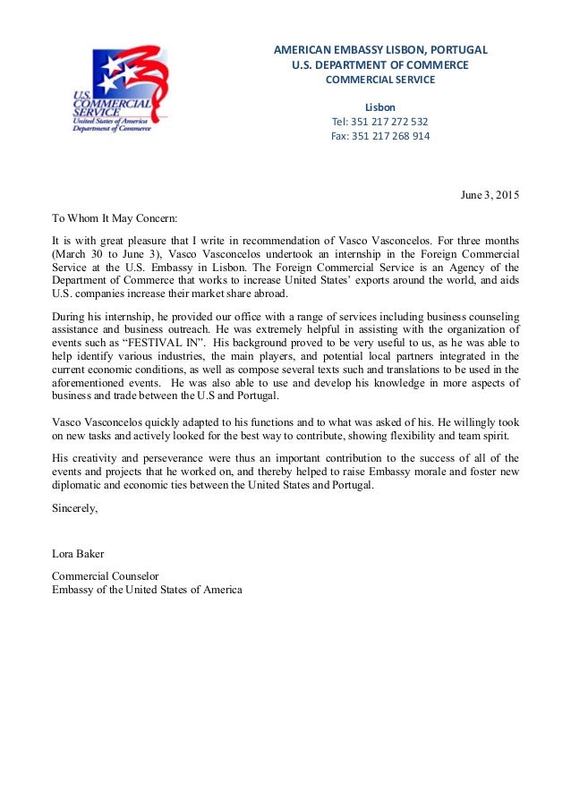 Letter of recommendation us embassy american embassy lisbon portugal us department of commerce commercial service lisbon tel 351 217 expocarfo Images