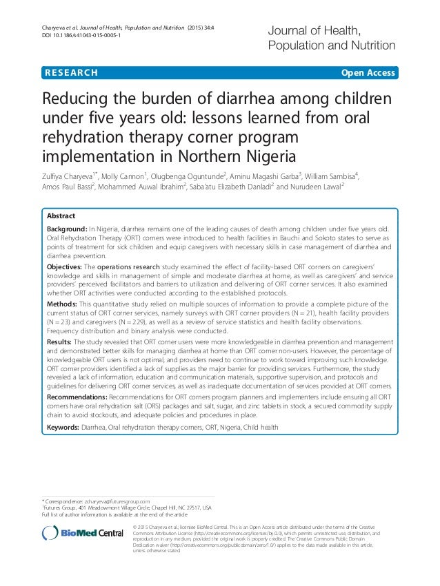 RESEARCH Open Access Reducing the burden of diarrhea among children under five years old: lessons learned from oral rehydr...