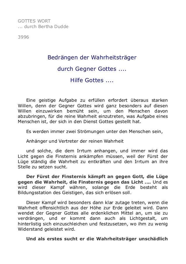 GOTTES WORT ... durch Bertha Dudde 3996 Bedrängen der Wahrheitsträger durch Gegner Gottes .... Hilfe Gottes .... Eine geis...