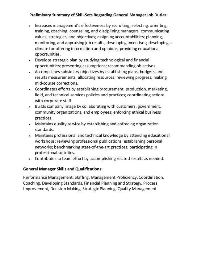 Preliminary Summary Of Skill Sets Regarding General Manager Job Duties: U2022  Increases Managementu0027s Effectiveness ...  Manager Skills For Resume