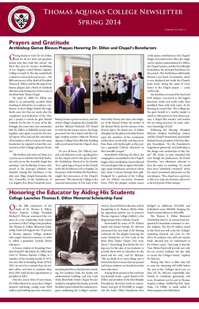 alumni profile in thomas aquinas college newsletter