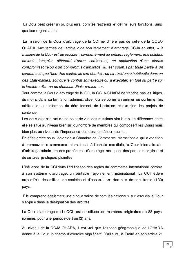 Memoire dess for Chambre de commerce internationale arbitrage