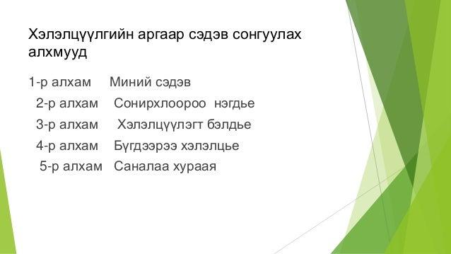 Хэлэлцүүлгийн аргаар сэдэв сонгуулах алхмууд 1-р алхам Миний сэдэв 2-р алхам Сонирхлоороо нэгдье 3-р алхам Хэлэлцүүлэгт бэ...