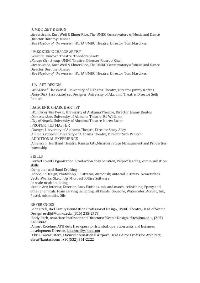 set design resume