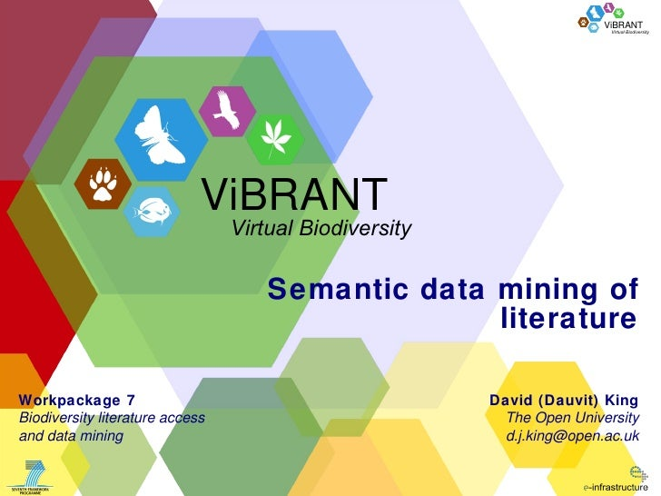 Semantic data mining of literature David (Dauvit) King The Open University [email_address] Workpackage 7 Biodiversity lite...