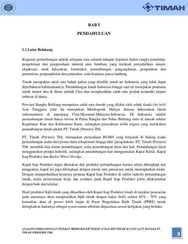 Analisis Perbandingan Tingkat Produksi Kip Timah 15 Dan Kip Timah 16