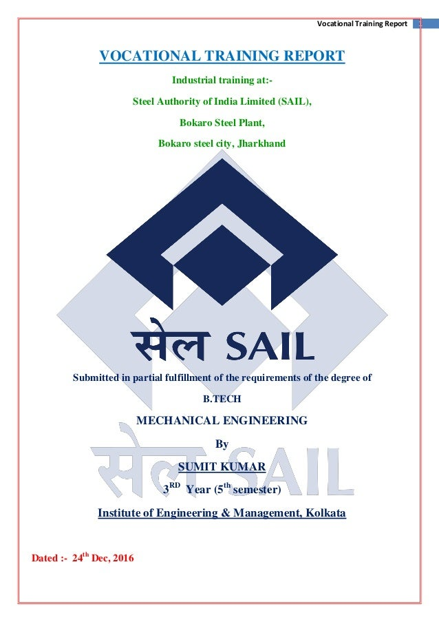 Vocational Training in Steel Authority of India Limited (SAIL)-Bokaro…