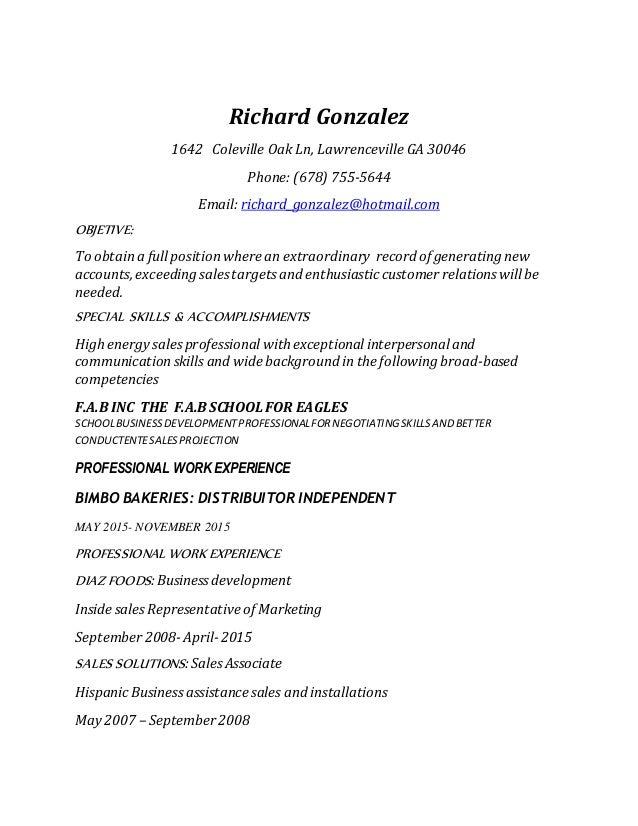 Richard Gonzalez Resume 2015