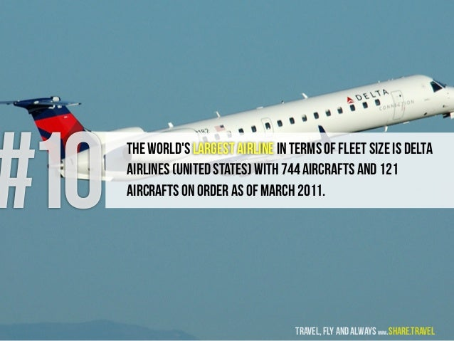 #10 The World's largest Airline in terms of Fleet Size is Delta Airlines (United States) with 744 aircrafts and 121 aircra...