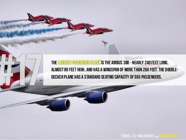 #17 The largest passenger plane is the Airbus 380 - nearly 240 feet long, almost 80 feet high, and has a wingspan of more ...