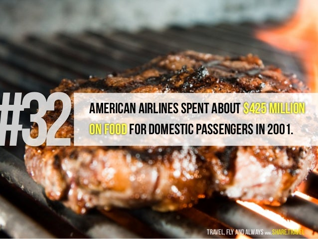 #32 American Airlines spent about $425 million on food for domestic passengers in 2001. travel, fly and always www.share.t...