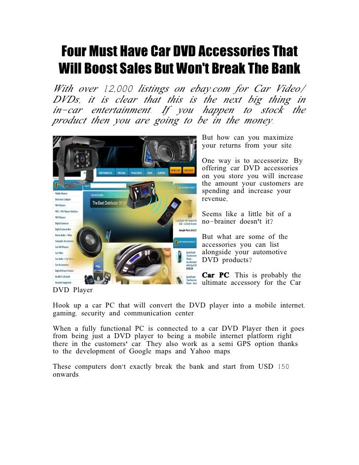 Four Must Have Car DVD Accessories That  Will Boost Sales But Won't Break The Bank With over 12,000 listings on ebay.com f...