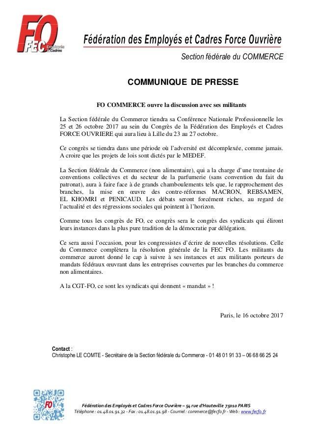 Fédération des Employés et Cadres Force Ouvrière – 54 rue d'Hauteville 75010 PARIS Téléphone : 01.48.01.91.32 - Fax : 01.4...