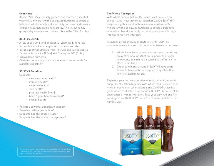 Overview:                                                           The Whole Absorption:     XanGo 3SIXTY5 purposely gath...