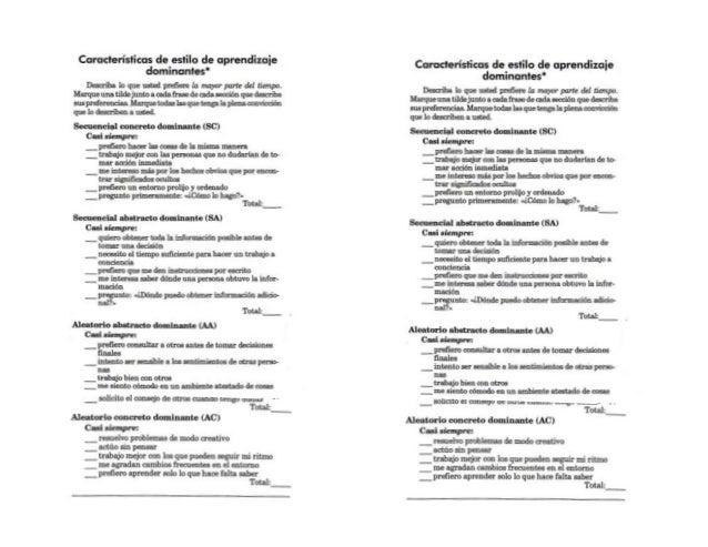 Test de Estilos de Aprendizaje dominante