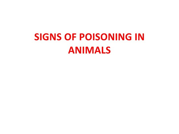SIGNS OF POISONING IN ANIMALS