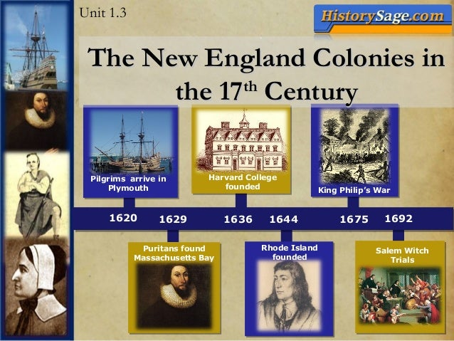 1620 1629 1636 1692 Rhode Island founded Pilgrims arrive in Plymouth Harvard College founded 1675 King Philip's War 1644 S...