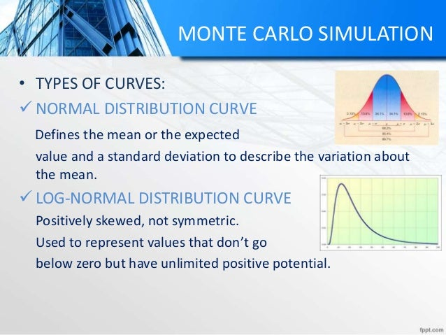 MONTE CARLO SIMULATION • TYPES OF CURVES:  NORMAL DISTRIBUTION CURVE Defines the mean or the expected value and a standar...