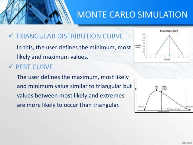MONTE CARLO SIMULATION  TRIANGULAR DISTRIBUTION CURVE In this, the user defines the minimum, most likely and maximum valu...