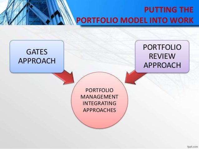 PUTTING THE PORTFOLIO MODEL INTO WORK PORTFOLIO MANAGEMENT INTEGRATING APPROACHES GATES APPROACH PORTFOLIO REVIEW APPROACH