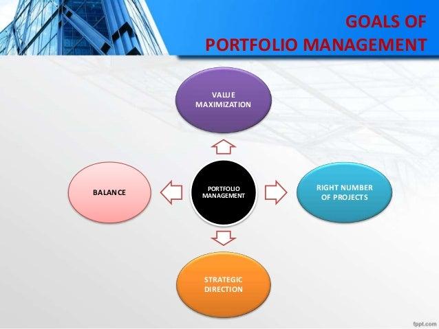 GOALS OF PORTFOLIO MANAGEMENT PORTFOLIO MANAGEMENT VALUE MAXIMIZATION RIGHT NUMBER OF PROJECTS STRATEGIC DIRECTION BALANCE