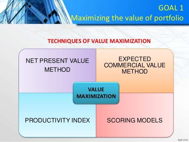 GOAL 1 Maximizing the value of portfolio NET PRESENT VALUE METHOD EXPECTED COMMERCIAL VALUE METHOD PRODUCTIVITY INDEX SCOR...
