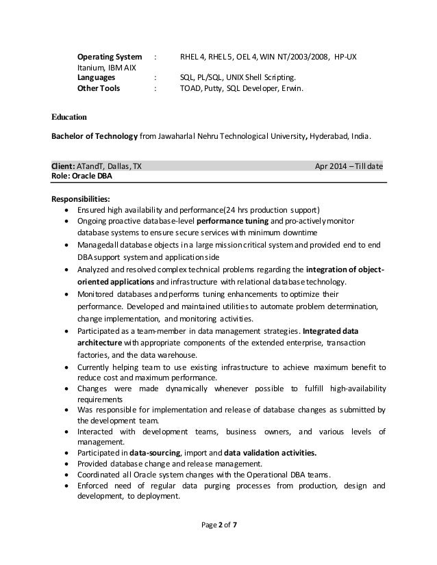 Satheesh Oracle DBA Resume