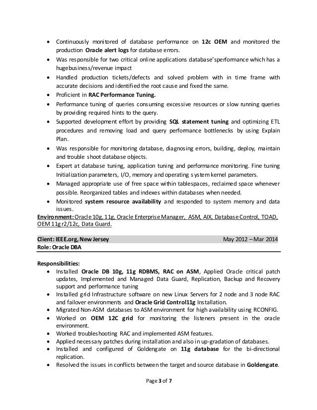 oracle dba 3 years experience resume Idealvistalistco
