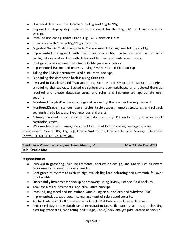 sample entry level dba resume oracle - Oracle Dba Resume Examples