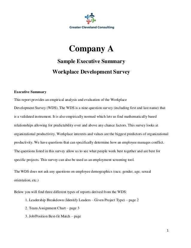 Sample Of Executive Summary Of A Report Executive Report Template